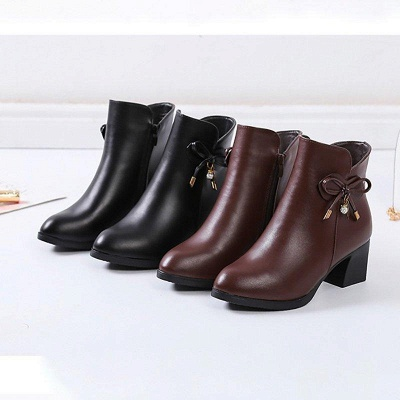 Bowknot Daily Chunky Heel Pointed Toe Zipper Elegant Boots On Sale_6