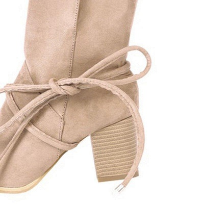Women's Boots Lace-Up Chunky Heel Round Toe Elegant Apricot Boots On Sale_3
