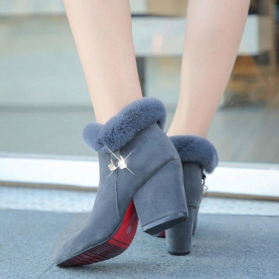 Suede Daily Zipper Chunky Heel Fur Pointed Boots On Sale_3