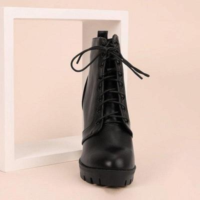 Chunky Heel PU Lace-up Boots On Sale_4