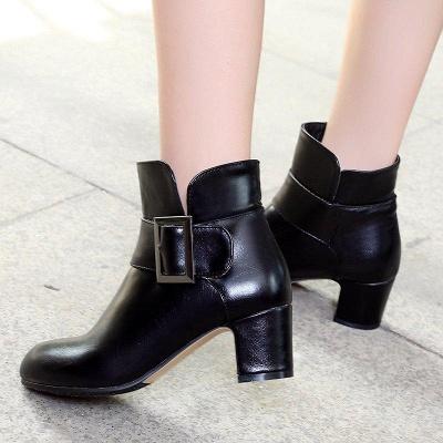 Chunky Heel Zipper Boots On Sale_7