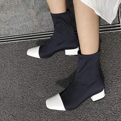 Lady Daily Chunky Heel Square Toe Low Boots On Sale_2