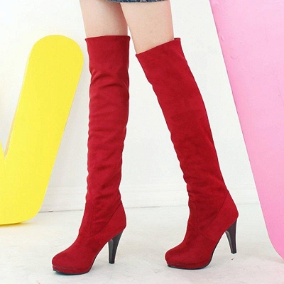 Suede Fall Daily Cone Heel Round Boots On Sale_1