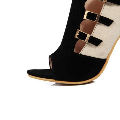 Suede Cone Heel Zipper Lace-up Peep Toe Boots On Sale_9