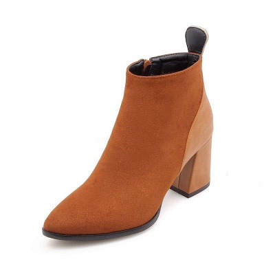 Chunky Heel Suede Elegant Round Boots On Sale_7
