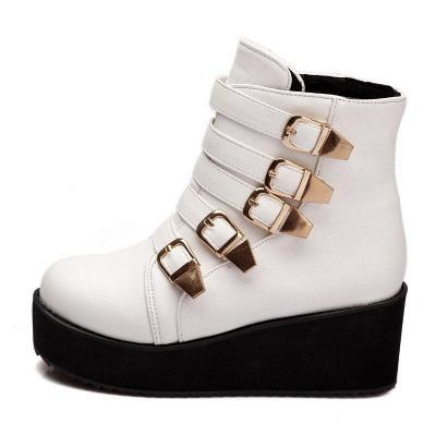 Women's Boots Black Round Toe Wedge Heel Boots On Sale_6