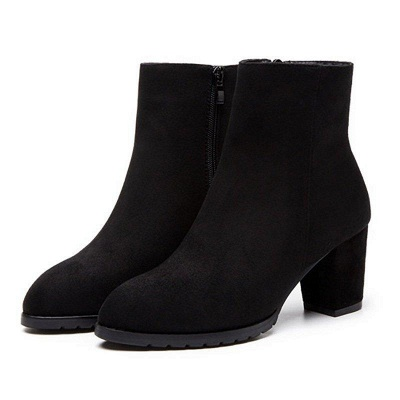 Zipper Chunky Heel Daily Pointed Toe Boots On Sale_2