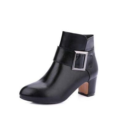 Chunky Heel Zipper Boots On Sale_3