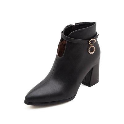 Daily PU Chunky Heel Boots On Sale_3