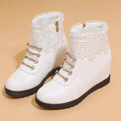 Zipper Daily Wedge Heel Round Toe Boots On Sale_7