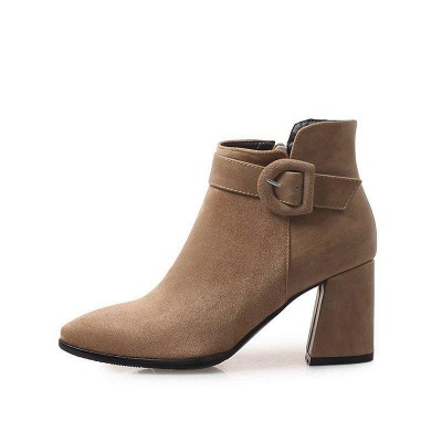 Daily Chunky Heel Suede Round Toe Boot On Sale_6