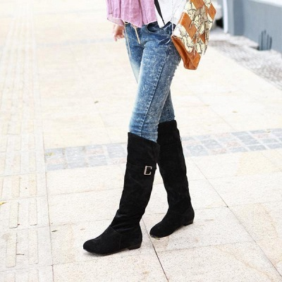 Suede Daily Wedge Heel Buckle Boots On Sale_8