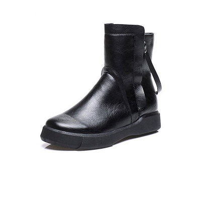 Zipper Daily Round Toe Flat Heel Boots On Sale_5