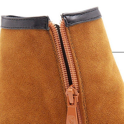 Daily Chunky Heel Zipper Pointed Boots On Sale_9