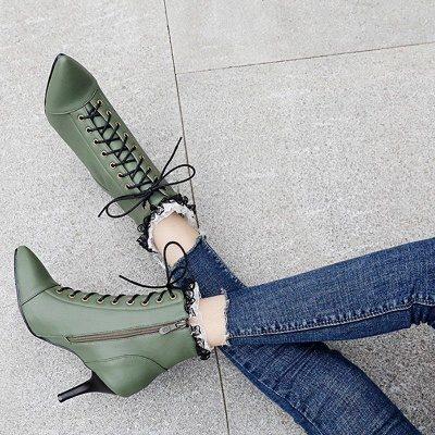Date Fall Stiletto Heel Lace-up Pointed On Sale_6