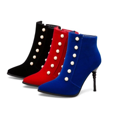 Suede Daily Stiletto Heel Pointed Toe Zipper Boots On Sale_10