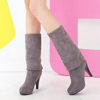 Suede Fall Daily Cone Heel Round Boots On Sale_3
