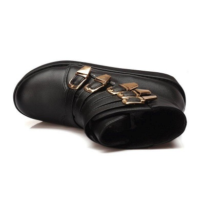 Women's Boots Black Round Toe Wedge Heel Boots On Sale_9