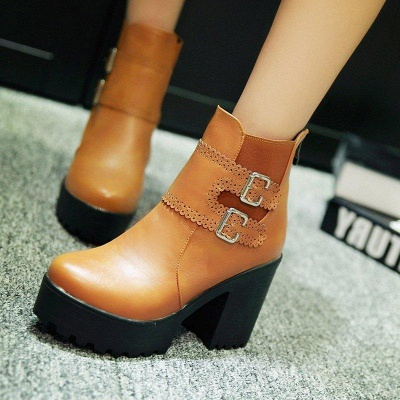 Buckle PU Chunky Heel Round Boots On Sale_3