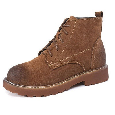 Grind Cowhide Leather Round Toe Boots On Sale_5