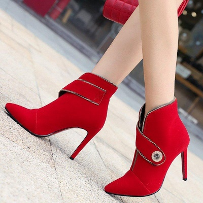 Zipper Daily Stiletto Heel Suede Pointed Toe Elegant Boots On Sale_4