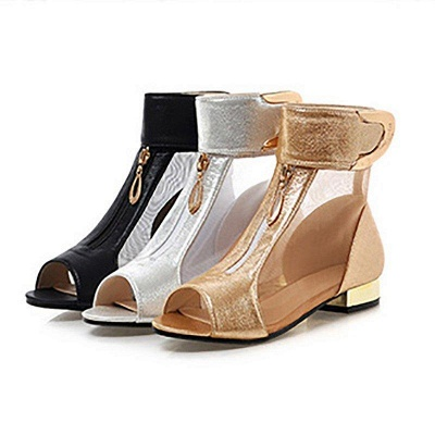 Mesh Hollow-out Peep Toe Summer Boots On Sale_4