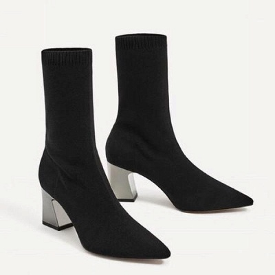 Black Chunky Heel Daily Pointed Toe Boots On Sale_2