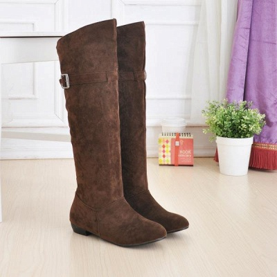 Suede Daily Wedge Heel Buckle Boots On Sale_4