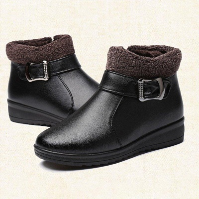 Wedge Heel Daily Zipper Round Toe Buckle Boots On Sale_5