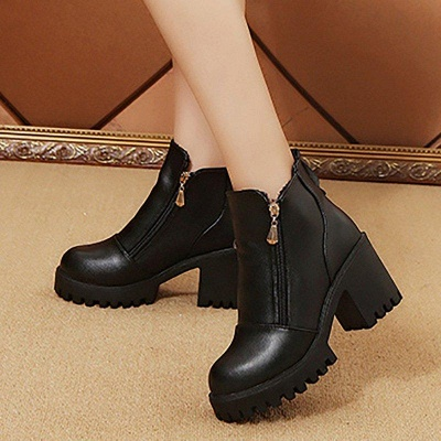 Zipper Chunky Heel Daily Round Toe Boots On Sale_5