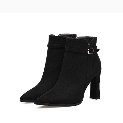 Daily Buckle Pointed Toe Boots On Sale_2