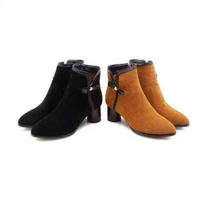 Daily Chunky Heel Zipper Pointed Boots On Sale_5