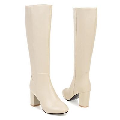 Zipper Chunky Heel Daily Round Toe Elegant Boots On Sale_7