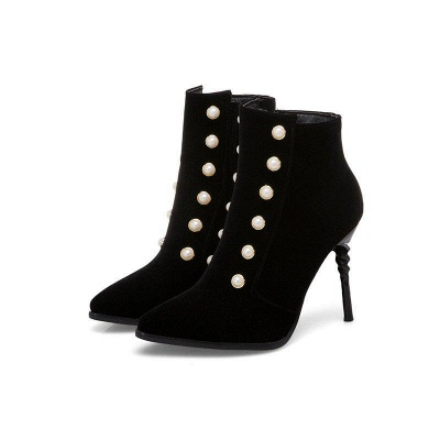 Suede Daily Stiletto Heel Pointed Toe Zipper Boots On Sale_2