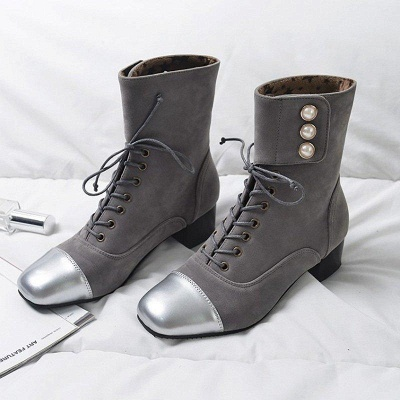 Rivet Chunky Heel Daily Square Toe Boots On Sale_6