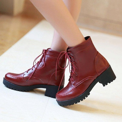 Daily Lace-up Fall PU Round Boots On Sale_1