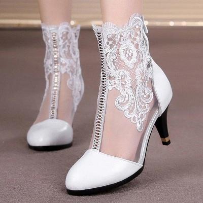 Dress All Season Stitching Lace Mesh Stiletto Boots On Sale_2
