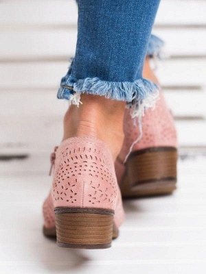 Hollow-out Low Heel Summer Faux Suede Boot On Sale_15