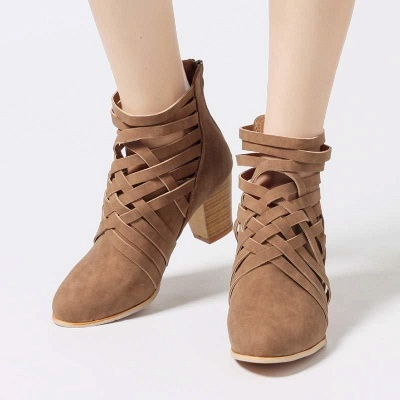 Zipper Pointed Toe Chunky Boots On Sale_8