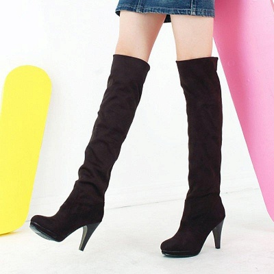 Suede Fall Daily Cone Heel Round Boots On Sale_2