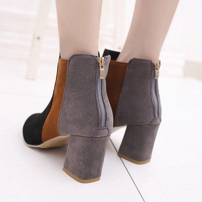 Zipper Daily Chunky Heel Pointed Toe Suede Boots On Sale_4