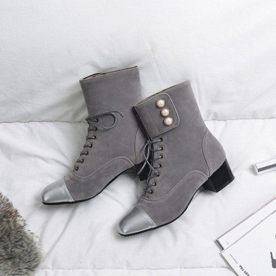 Rivet Chunky Heel Daily Square Toe Boots On Sale_5