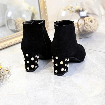 Suede Winter Chunky Heel Beading Pointed Boots On Sale_1