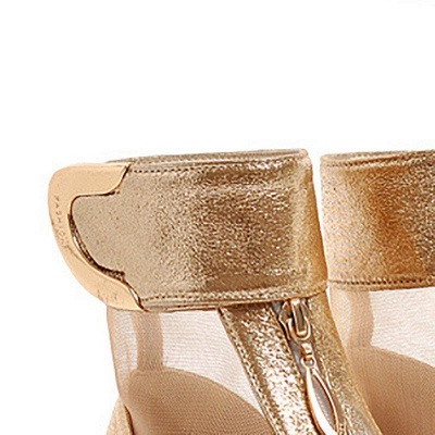 Mesh Hollow-out Peep Toe Summer Boots On Sale_5