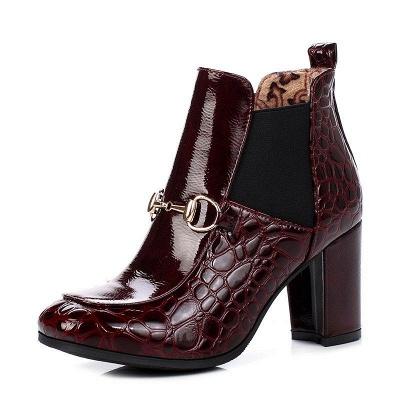 Daily Chunky Heel PU Round Boots On Sale_2