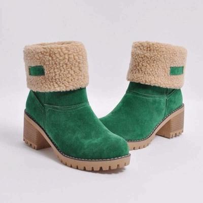 Nubuck Chunky Heel Slip-On Round Toe Boots On Sale_2