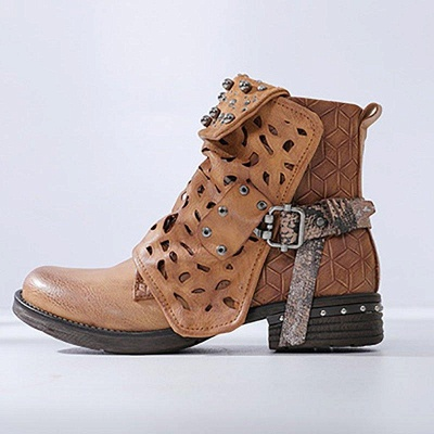 Hollow-out Daily Chunky Heel Round Toe Boots On Sale_2