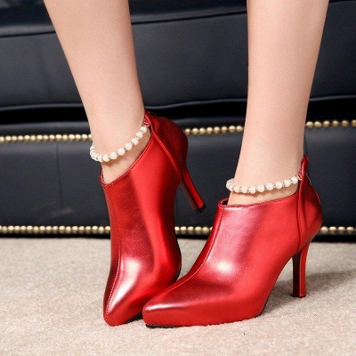 Silver Zipper Daily Elegant Stiletto Heel Pointed Toe Boots On Sale_5