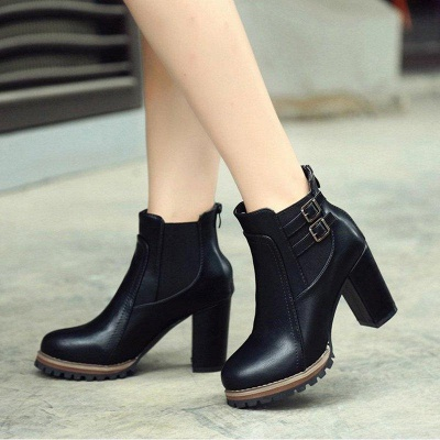 PU Buckle Round Toe Chunky Boots On Sale_2