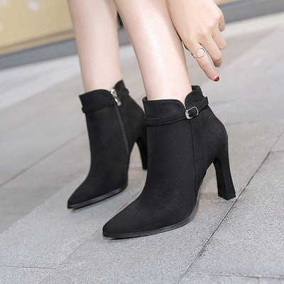 Suede Buckle Chunky Heel Pointed Boots On Sale_4